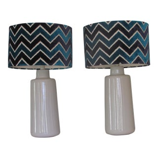 Arteriors White Porcelain Table Lamps with Chevron Shades- A Pair For Sale