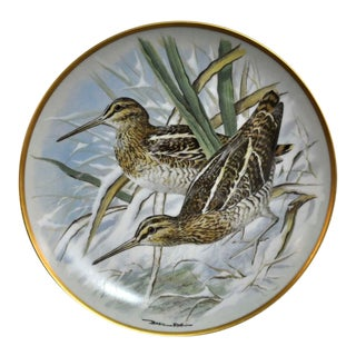Franklin Limoges Porcelain Wall Plate Gamebirds Motif Limited Edition 1979 France Common Snipe For Sale