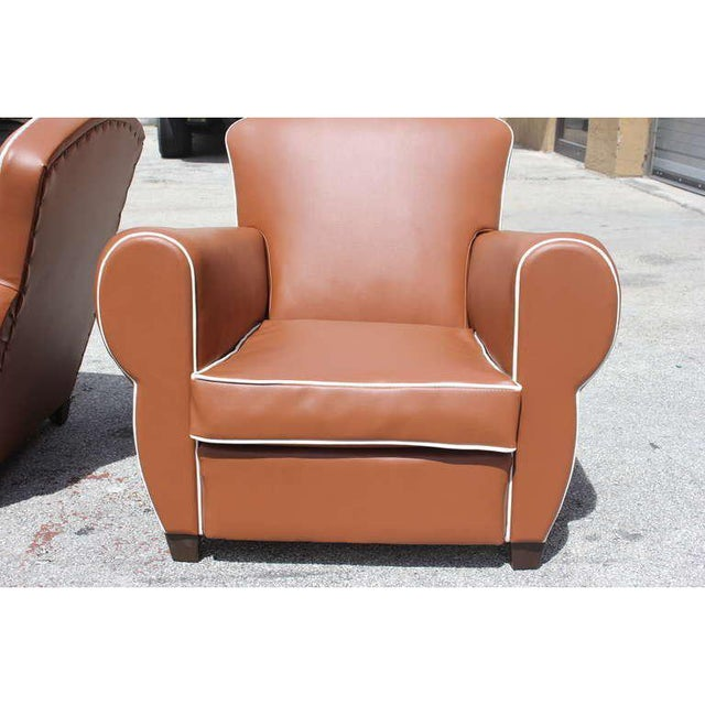 Textile 1950s Vintage French Art Deco Club Chairs - a Pair For Sale - Image 7 of 12