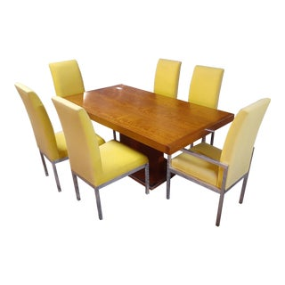 Milo Baughman for Founders Walnut Dining Table With 6 Chairs For Sale
