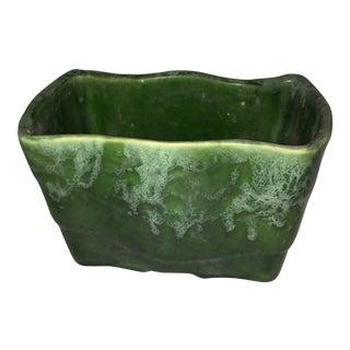 1960's Vintage Dark Green Glazed Ceramic Vase Planter For Sale
