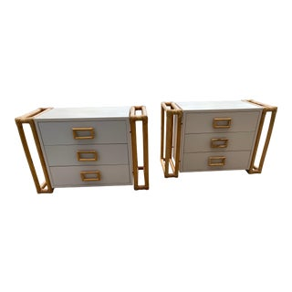 Mid Century Bamboo Nightstands 3 Draws For Sale