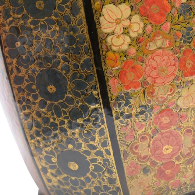 Metal Floral Motif Hand Painted Tea Canister For Sale - Image 7 of 8