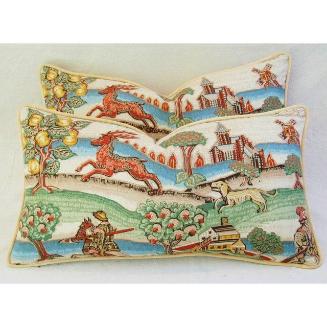 Designer Brunschwig & Fils Medieval Pillows - Pair - Image 3 of 8