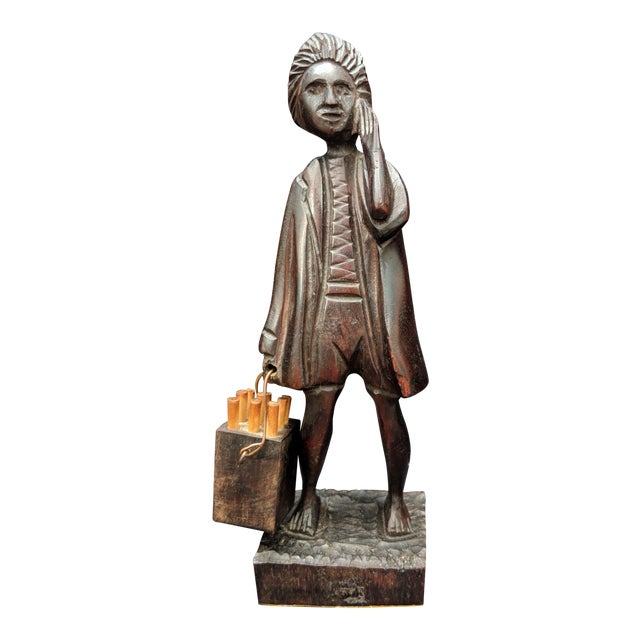 Hand Carved Wooden Man With a Bucket Statue Figurine For Sale