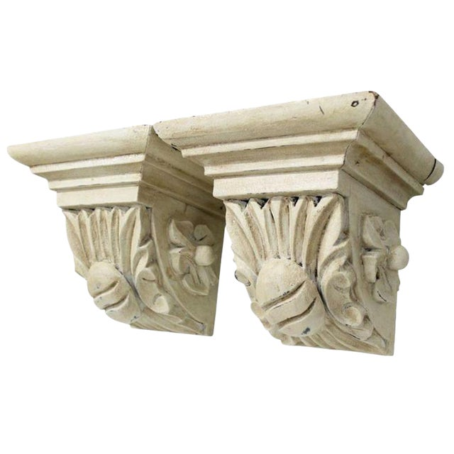 Carved Cream Corbels - a Pair - Image 1 of 3