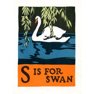 S Is for Swan, 1920s Lithograph, Children's ABCs For Sale