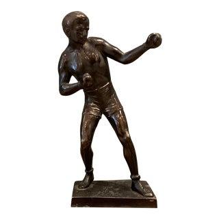 Mid-Century Bronze Painted Metal Boxer Sculpture For Sale