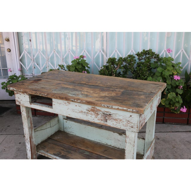1950s Rustic Distressed Farm Table For Sale In Los Angeles - Image 6 of 10