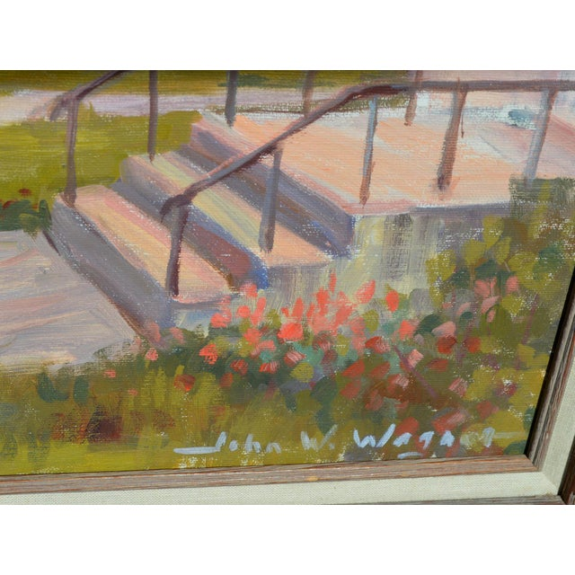 Light Pink C.1950's John W. Wagner Cityscape Oil Painting For Sale - Image 8 of 9
