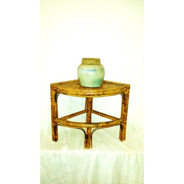 Vintage Scorched Bamboo Corner Shelf For Sale - Image 5 of 8