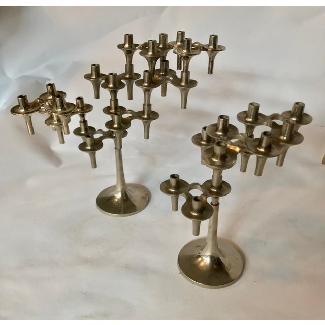 Pair of Iconic Fritz Nagel Candle Holders. Candelabras in base One with four three part individual Candle Holders and one...