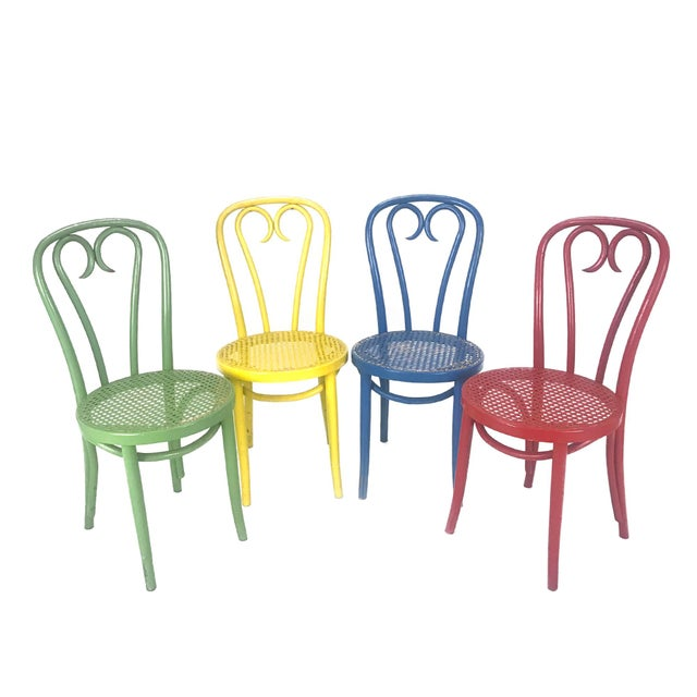 Vintage Wood Candy Cane Radomsko Cafe Chairs - Set of 4 For Sale In Philadelphia - Image 6 of 6