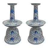 Image of Chinese Blue and White Oil Lamps - a Pair For Sale