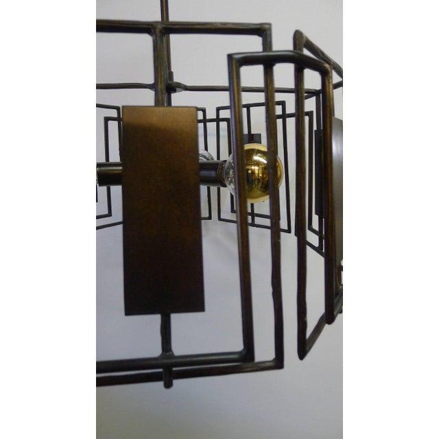 2010s Trellis Chandelier Faux Bois Iron by Paul Marra For Sale - Image 5 of 10
