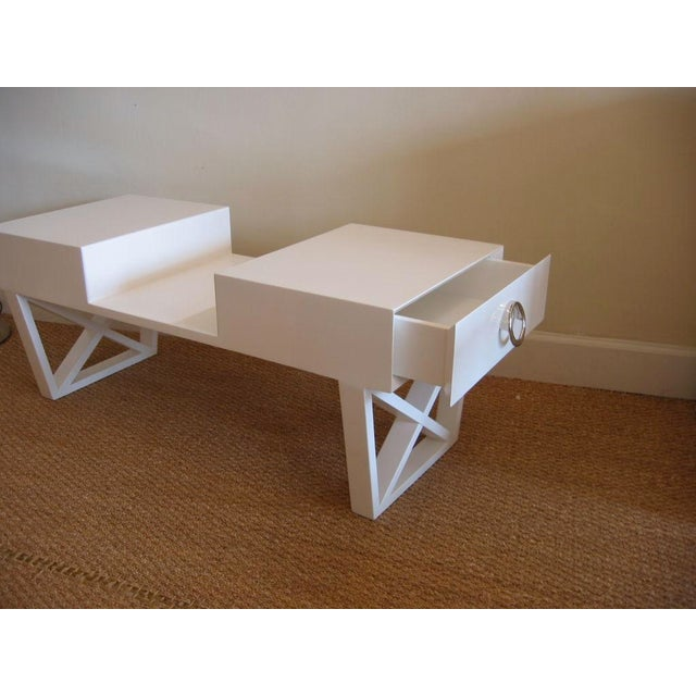 White Lacquered Over Wood Mid Century X Frame Cocktail Table For Sale - Image 4 of 6