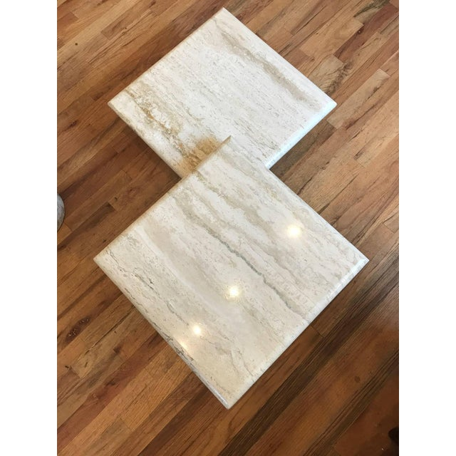 1970s Set of Three Italian Square Travertine Coffee Table For Sale - Image 5 of 11
