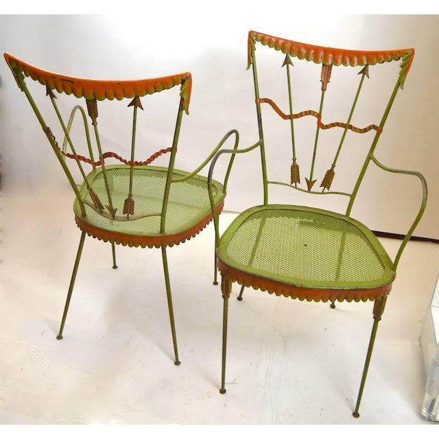 Metal Pair of Tomaso Buzzi Wrought Iron Armchairs For Sale - Image 7 of 10