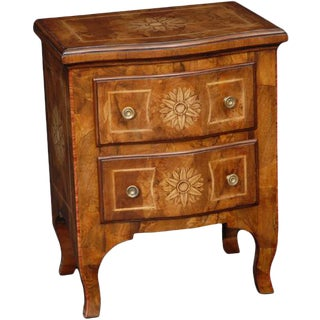 Italian Walnut Shaped Chest of Drawers For Sale