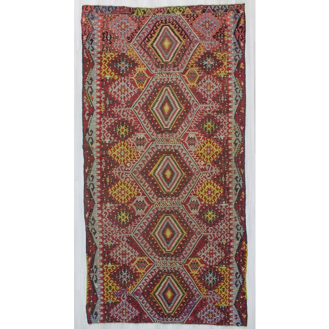 Decorative kilim rug from Denizli region of Turkey. In good condition. Approximatelly 45-55 years old.