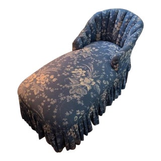 1960s Vintage Blue Floral Chaise For Sale