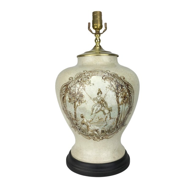 20th Century French Hand-Painted Table Lamp For Sale - Image 4 of 4