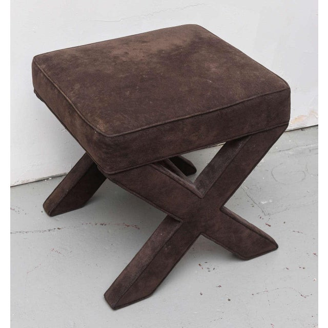 Brown ultra suede X stool by Milo Baughman 1970s USA.