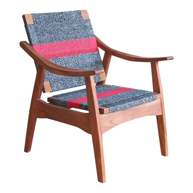 Handwoven Granito & Red Stripe Chair - Image 1 of 6