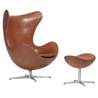 Arne Jacobsen Egg Chair and Ottoman for Fritz Hansen, 1950s