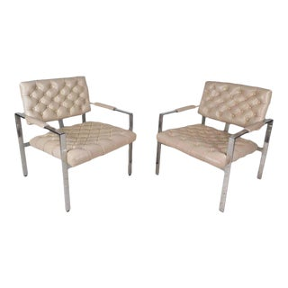 Mid-century Modern Vinyl Tufted Lounge Chairs by Milo Baughman for Thayer Coggin - a Pair For Sale