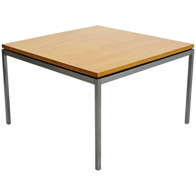 Mid-Century Modern Knoll Square Steel and Walnut Floating Coffee Table, 1950s For Sale