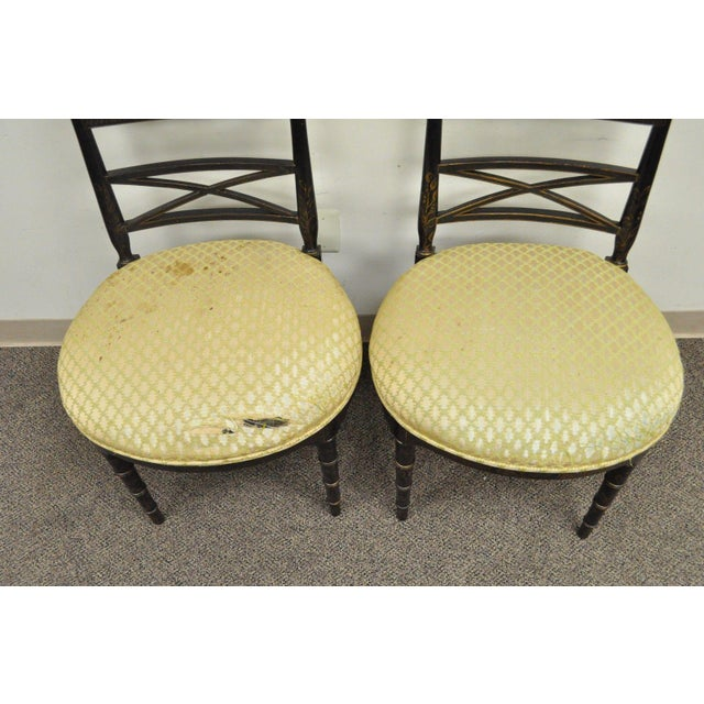 Pair of Antique Chinoiserie Oriental Japanned Black Painted Pagoda Side Chairs For Sale - Image 5 of 11