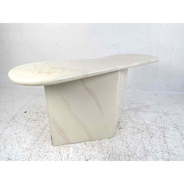 Midcentury Faux Goatskin Console Table For Sale - Image 12 of 12