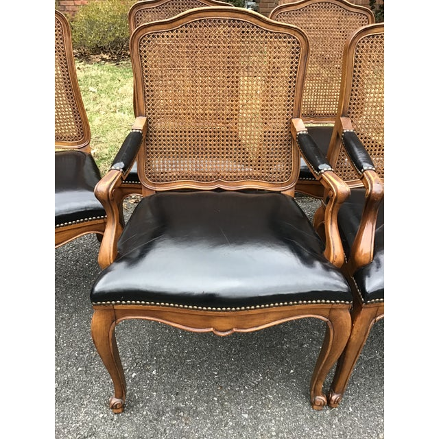 French Bodart French Louis XIV Caned Leather Dining Chairs -Set of 6 For Sale - Image 3 of 13