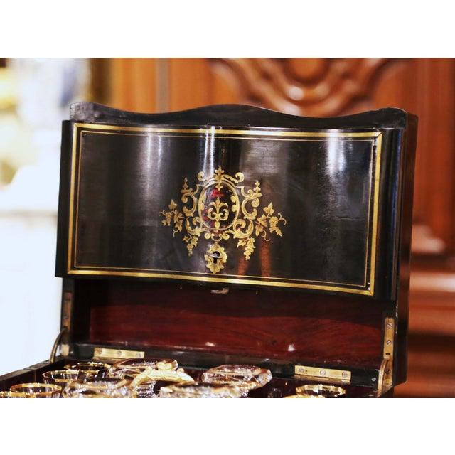 19th Century French Napoleon III Mahogany and Bronze Inlaid Liquor Box For Sale - Image 4 of 13