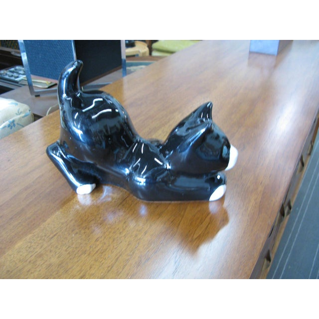 Alcobaca Black & White Ceramic Kitty Cat For Sale - Image 5 of 10