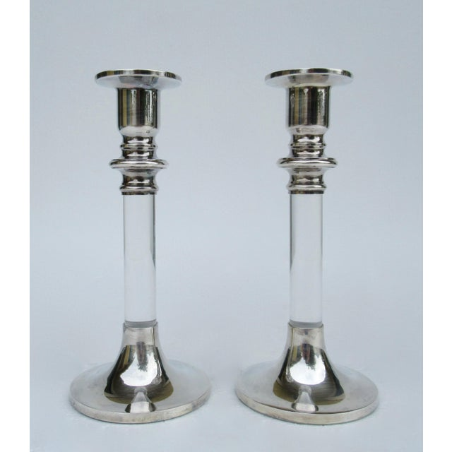 Vintage Mid-Century Karl Springer-Style, Lord & Taylor Silver Plate & Lucite Candle Holders -A Pair For Sale In West Palm - Image 6 of 13