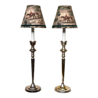 Equestrian Silver Plate Candlestick Lamps, Pair For Sale
