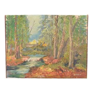 Vintage Mid-Century Landscape Oil Painting For Sale