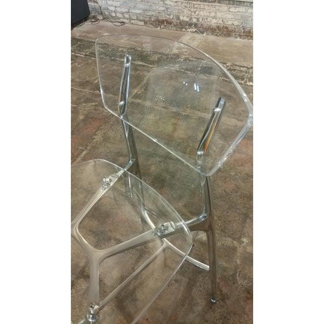 Lucite Designer Lucite & Polished Steel Bar Stools - Set of 3 For Sale - Image 7 of 10