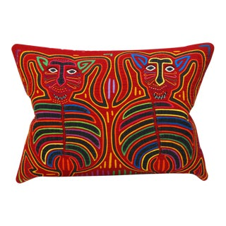 "Tribal Mola Decorative Pillow Cover - 13x17"" For Sale"