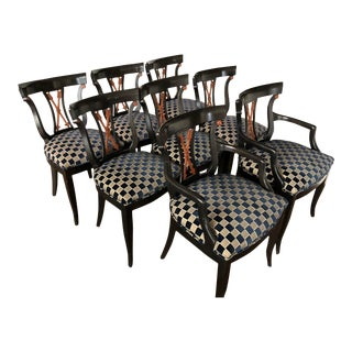 Regency Revival Style Ebonized Dining Chairs - Set of 8