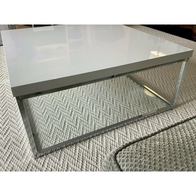 White Lacquer and Chrome Coffee Table With Tempered Glass Bottom Shelf For Sale - Image 9 of 10