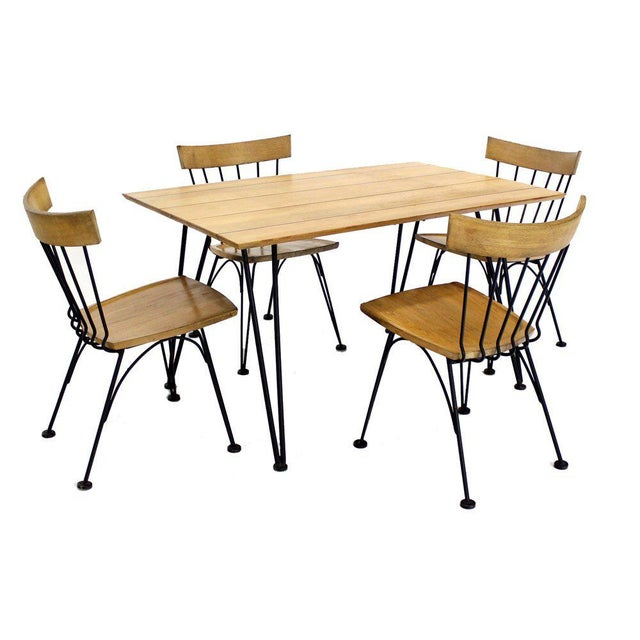 Mid Century Modern Dinette Dining Table with Four Chairs in Iron and Wood For Sale - Image 10 of 10