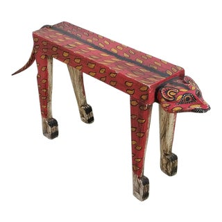 1950s Wood Carved Tiger Table Bench For Sale