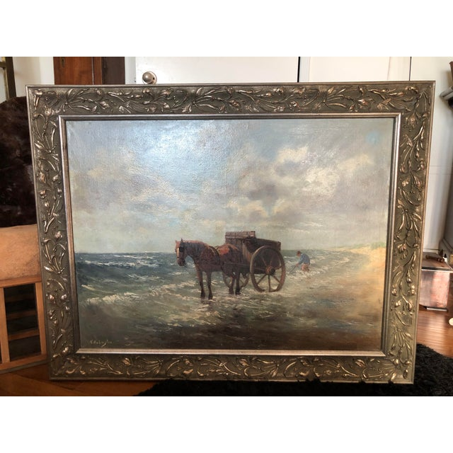 Henriette Hubregtse-Lanzing Antique Dutch Oil Painting, Horse & Fisherman For Sale - Image 10 of 10