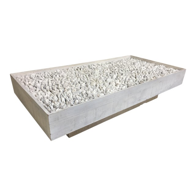 Distressed White Driftwood Coffee Table For Sale