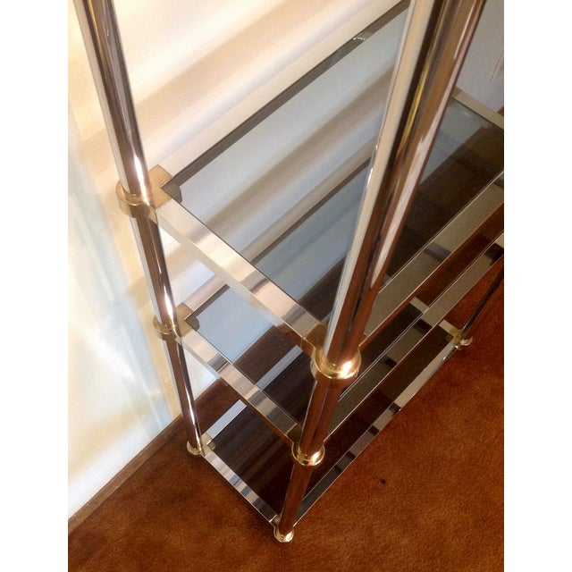 Silver Maison Jansen Etagere, Chrome & Brass Smoked Glass For Sale - Image 8 of 10