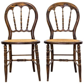 Antique Balloon-Back Caned Chairs, a Pair