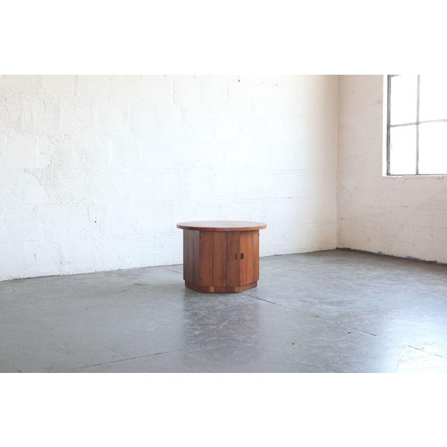 1960s Modern Teak Hexagon Side Table/Cabinet For Sale - Image 4 of 6